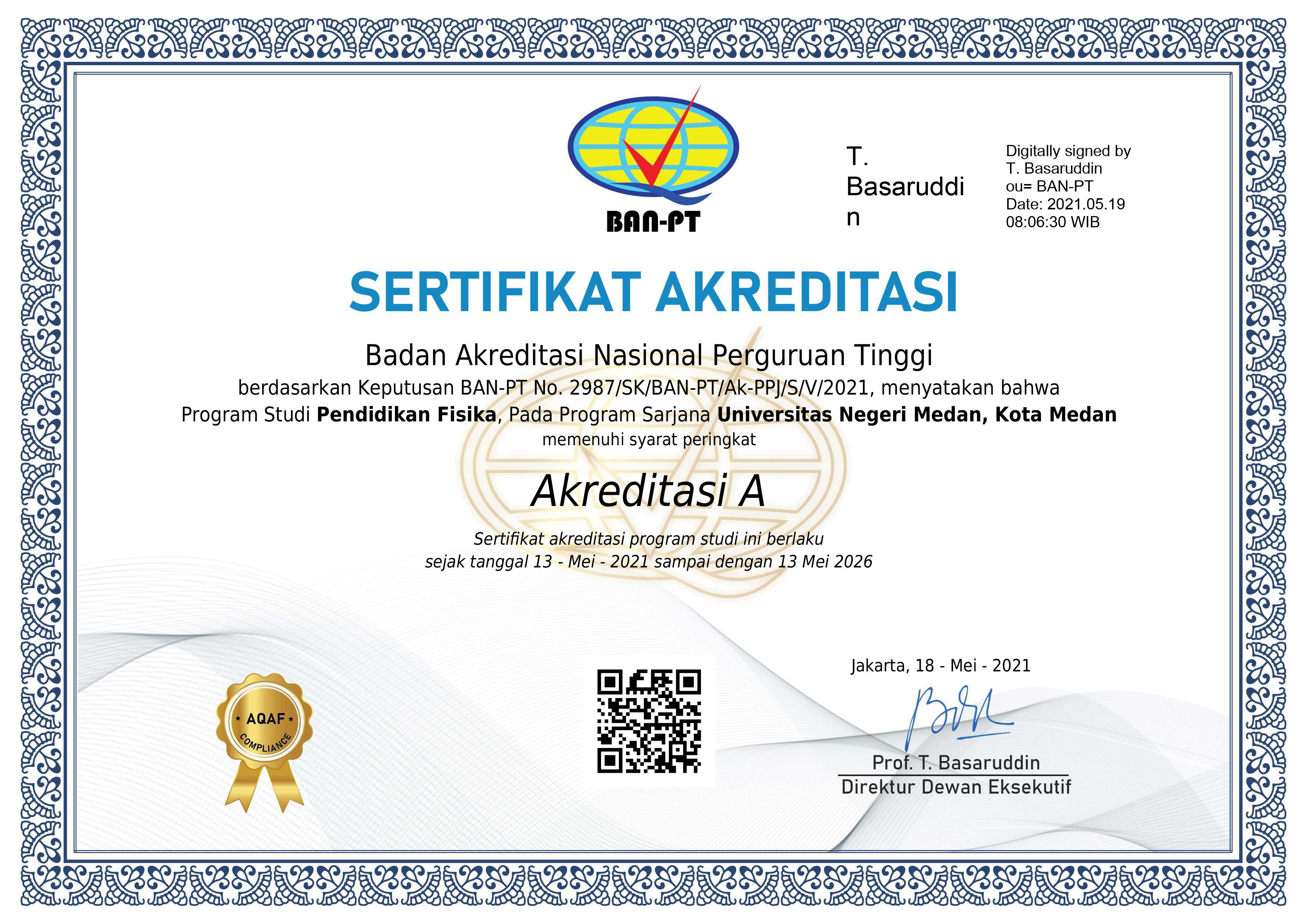 Penerbitan Surat Keterangan dan Sertifikat Akreditasi Prodi Pendidikan Fisika (Perpanjangan)